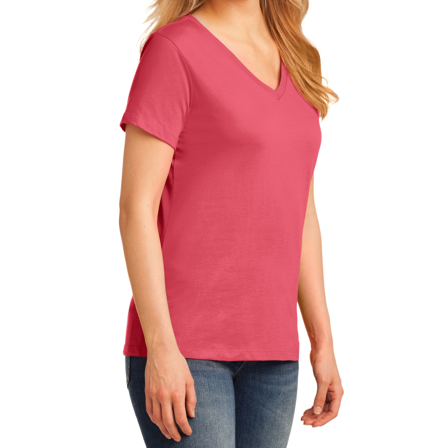 Women's Core Cotton V-Neck Tee Coral - Side
