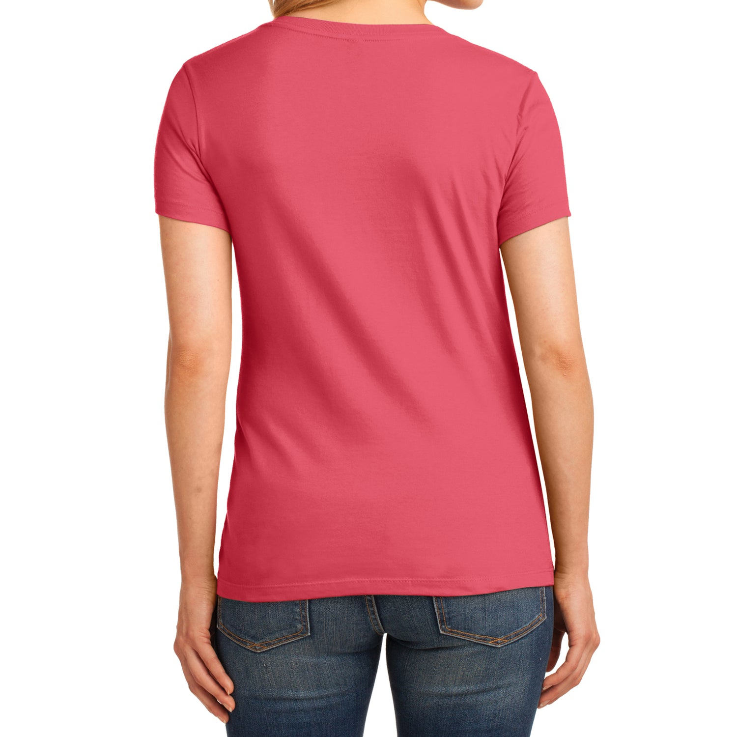 Women's Core Cotton V-Neck Tee Coral - Back