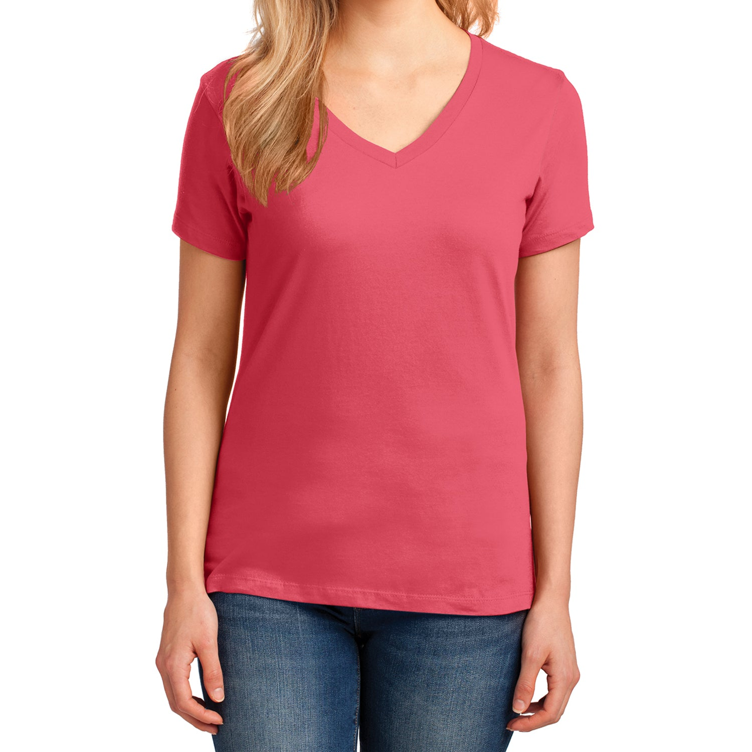 Women's Core Cotton V-Neck Tee Coral - Front