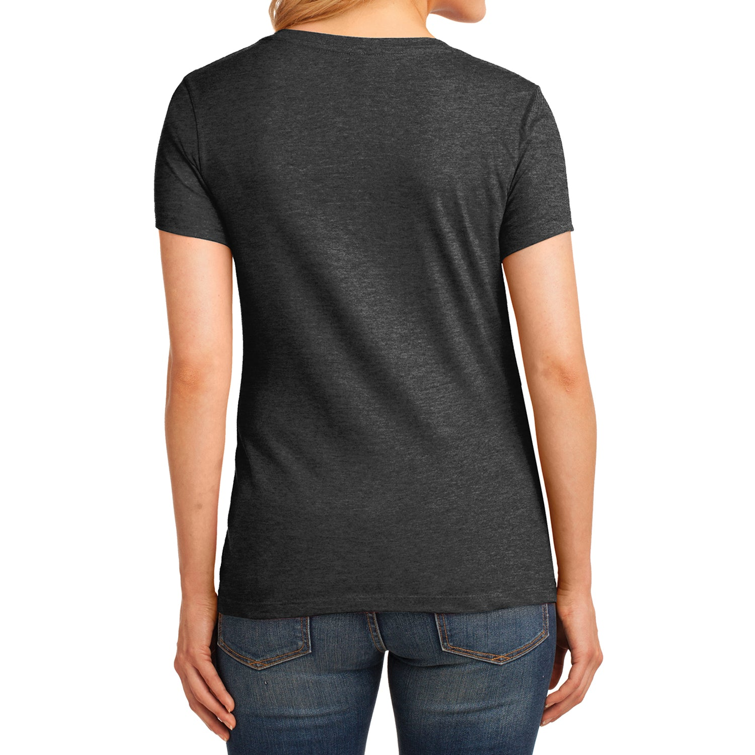 Women's Core Cotton V-Neck Tee Dark Heather Grey - Back