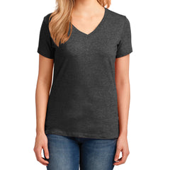 Women's Core Cotton V-Neck Tee Dark Heather Grey - Front