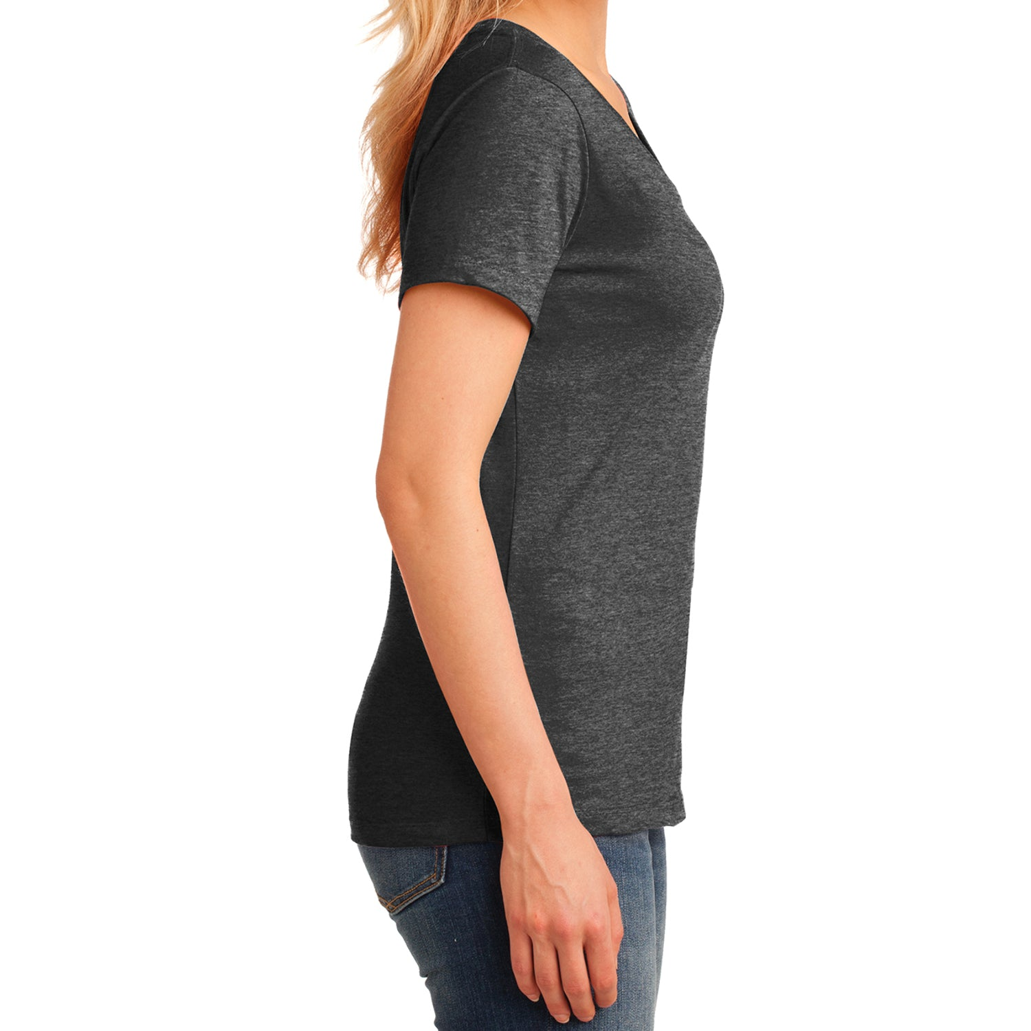 Women's Core Cotton V-Neck Tee Dark Heather Grey - Side