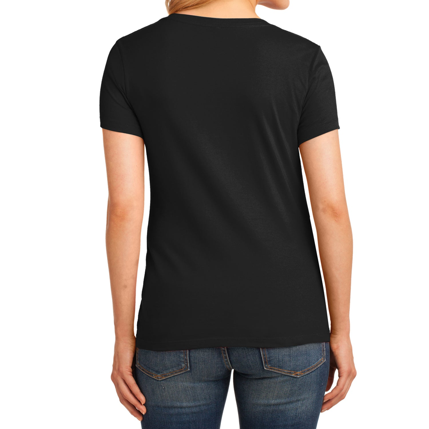 Women's Core Cotton V-Neck Tee Jet Black - Back