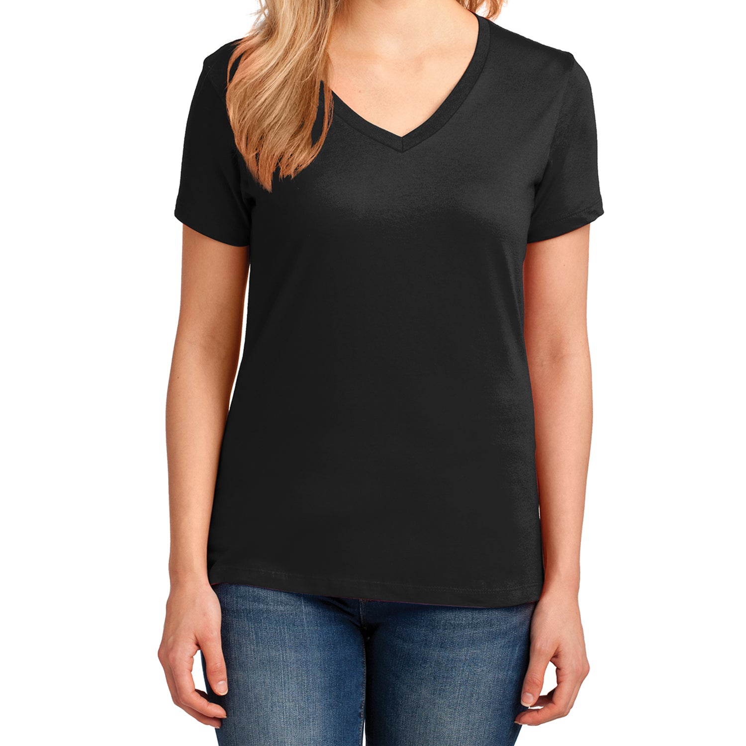 Women's Core Cotton V-Neck Tee Jet Black - Front
