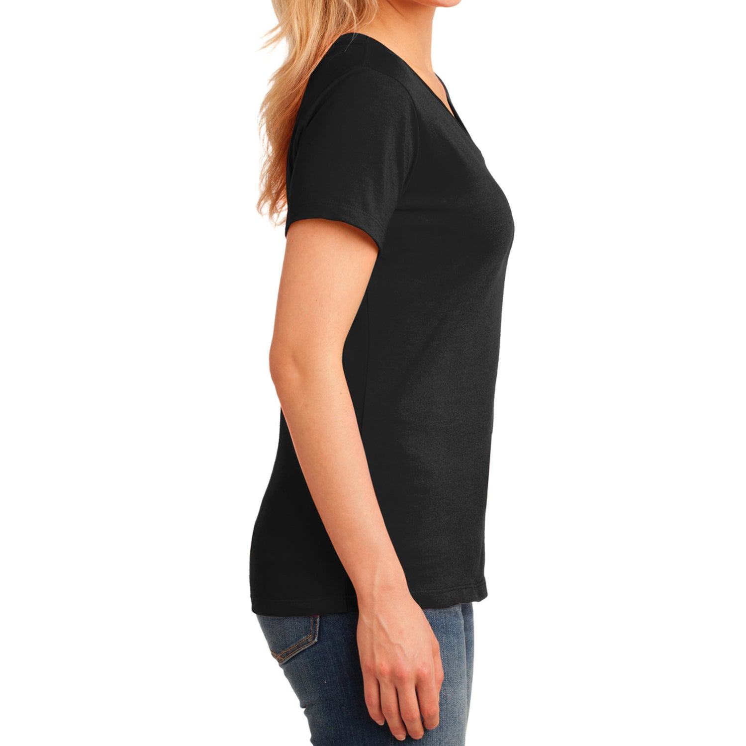 Women's Core Cotton V-Neck Tee Jet Black - Side