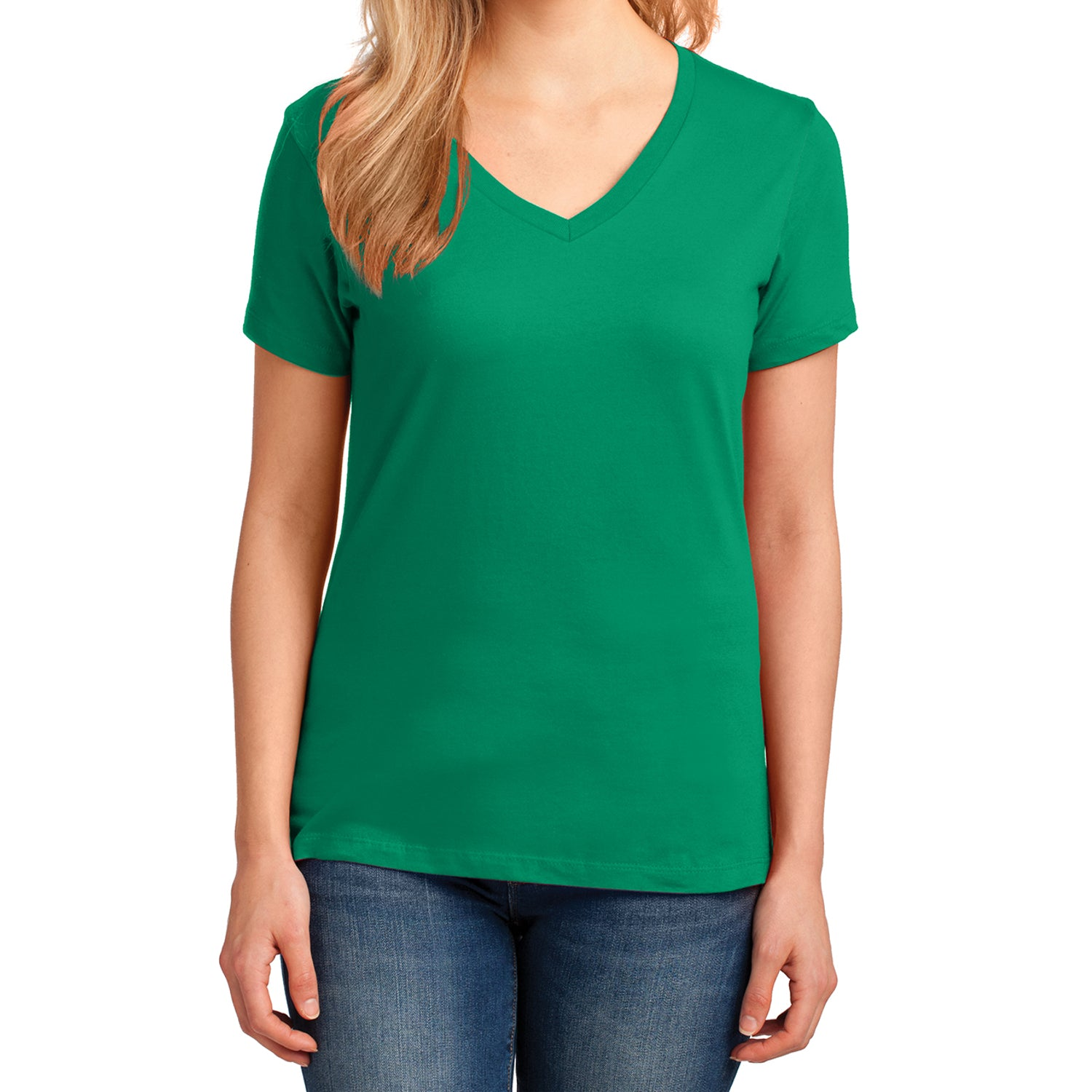 Women's Core Cotton V-Neck Tee Kelly - Front
