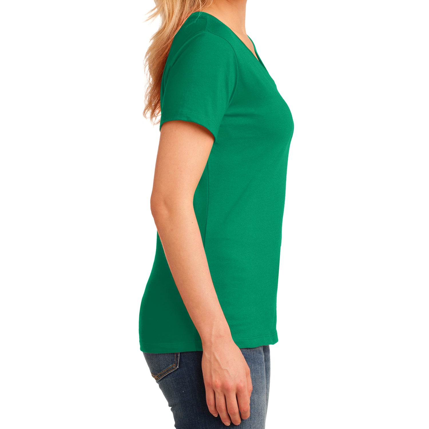 Women's Core Cotton V-Neck Tee Kelly - Side
