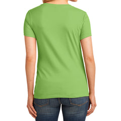 Women's Core Cotton V-Neck Tee Lime - Back
