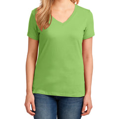 Women's Core Cotton V-Neck Tee Lime - Front