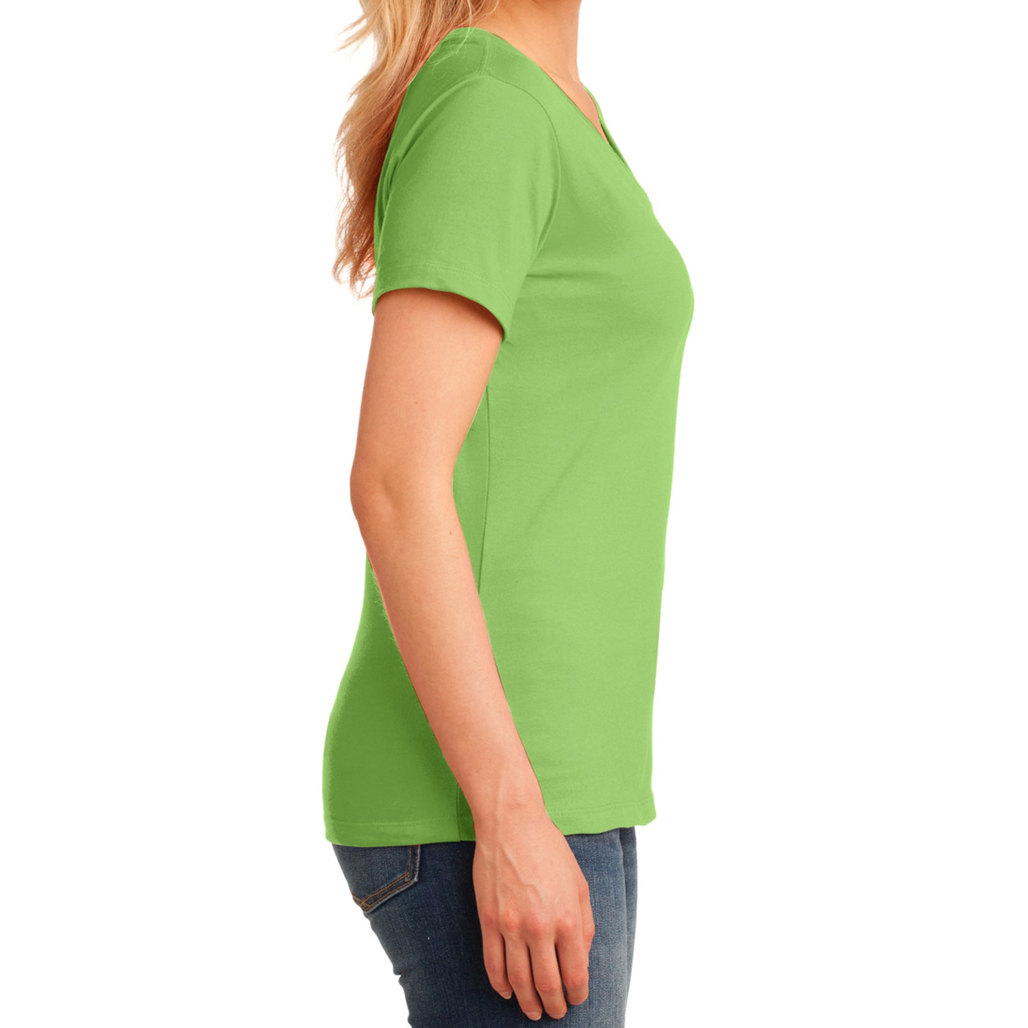 Women's Core Cotton V-Neck Tee Lime - Side