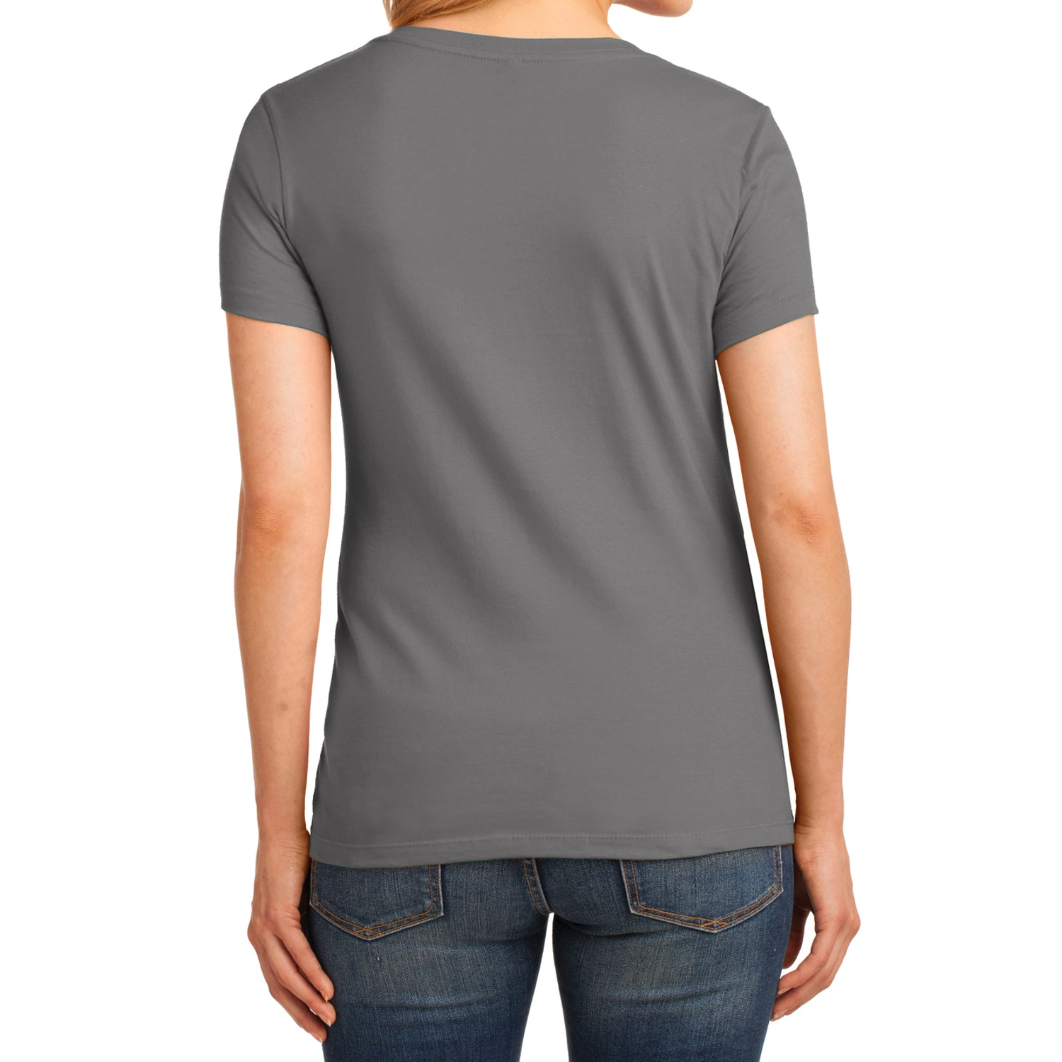 Women's Core Cotton V-Neck Tee Medium Grey - Back