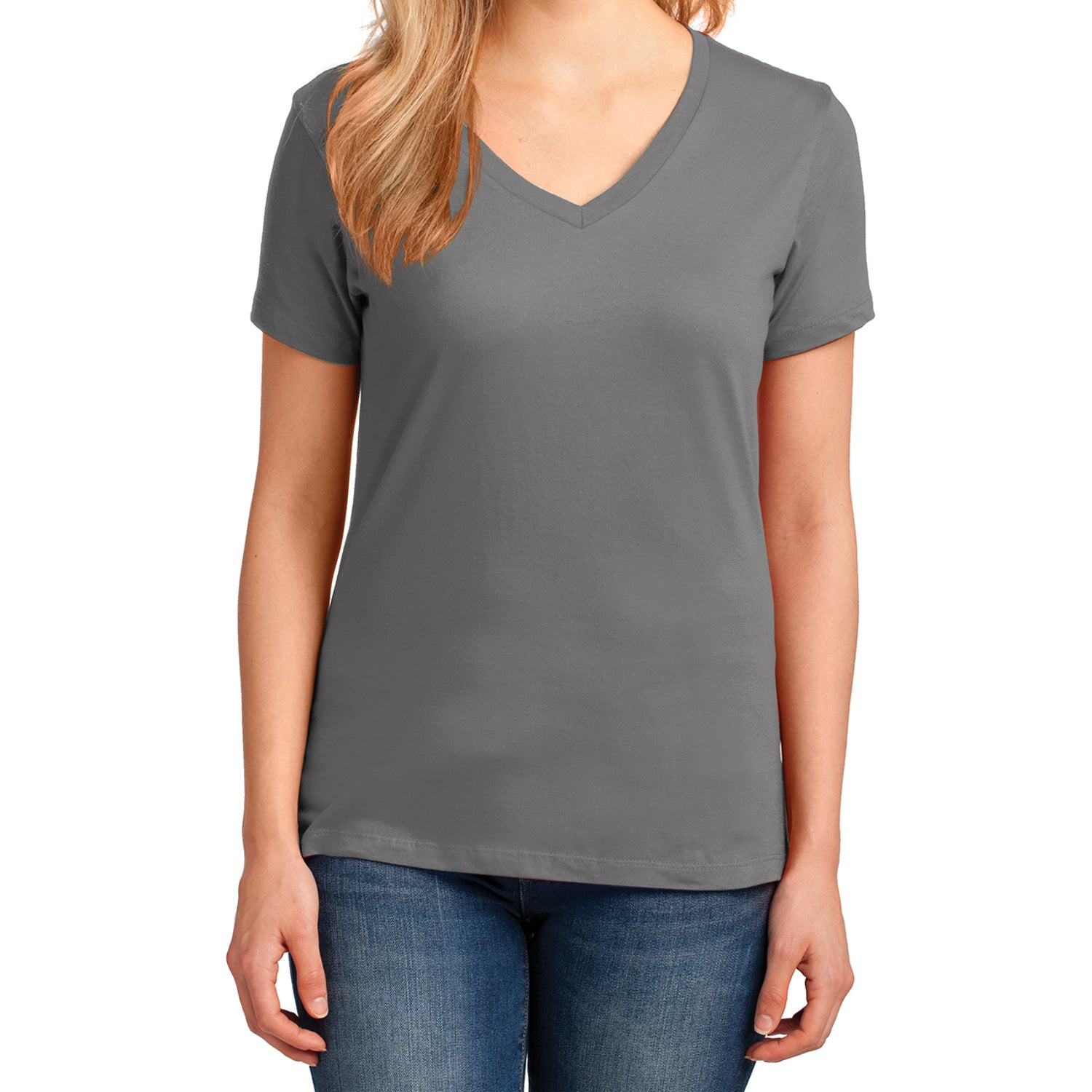 Women's Core Cotton V-Neck Tee Medium Grey - Front