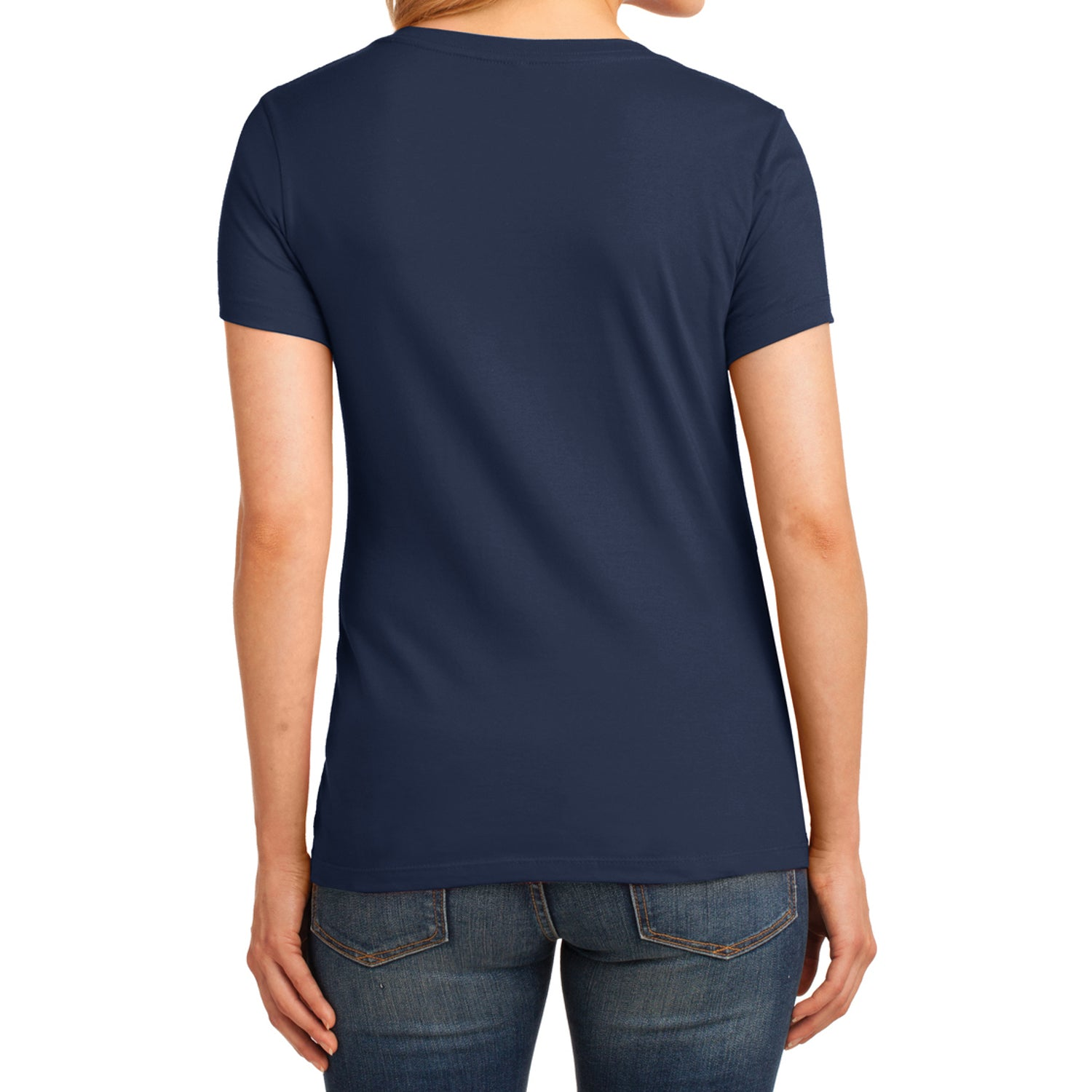 Women's Core Cotton V-Neck Tee Navy - Back