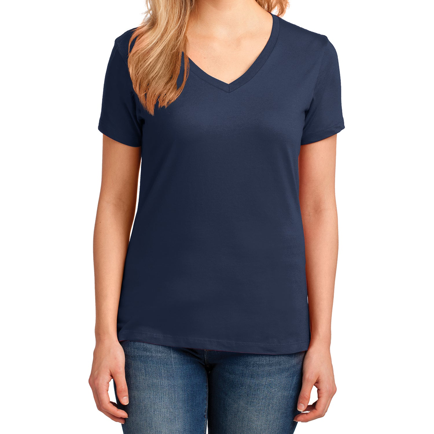 Women's Core Cotton V-Neck Tee Navy - Front