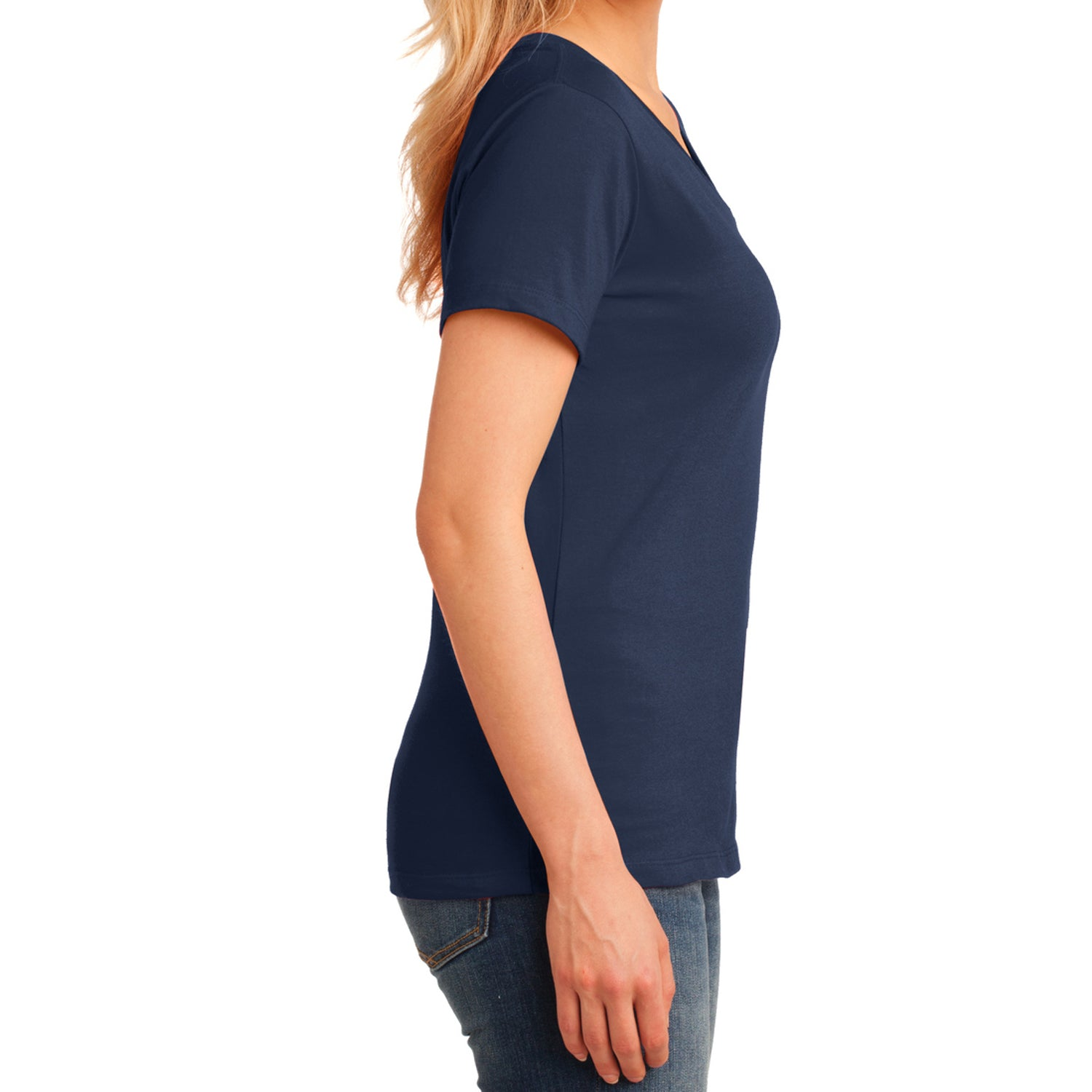 Women's Core Cotton V-Neck Tee Navy - Side