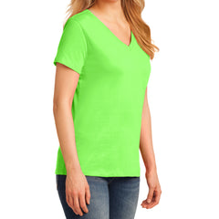Women's Core Cotton V-Neck Tee - Neon Green - Side