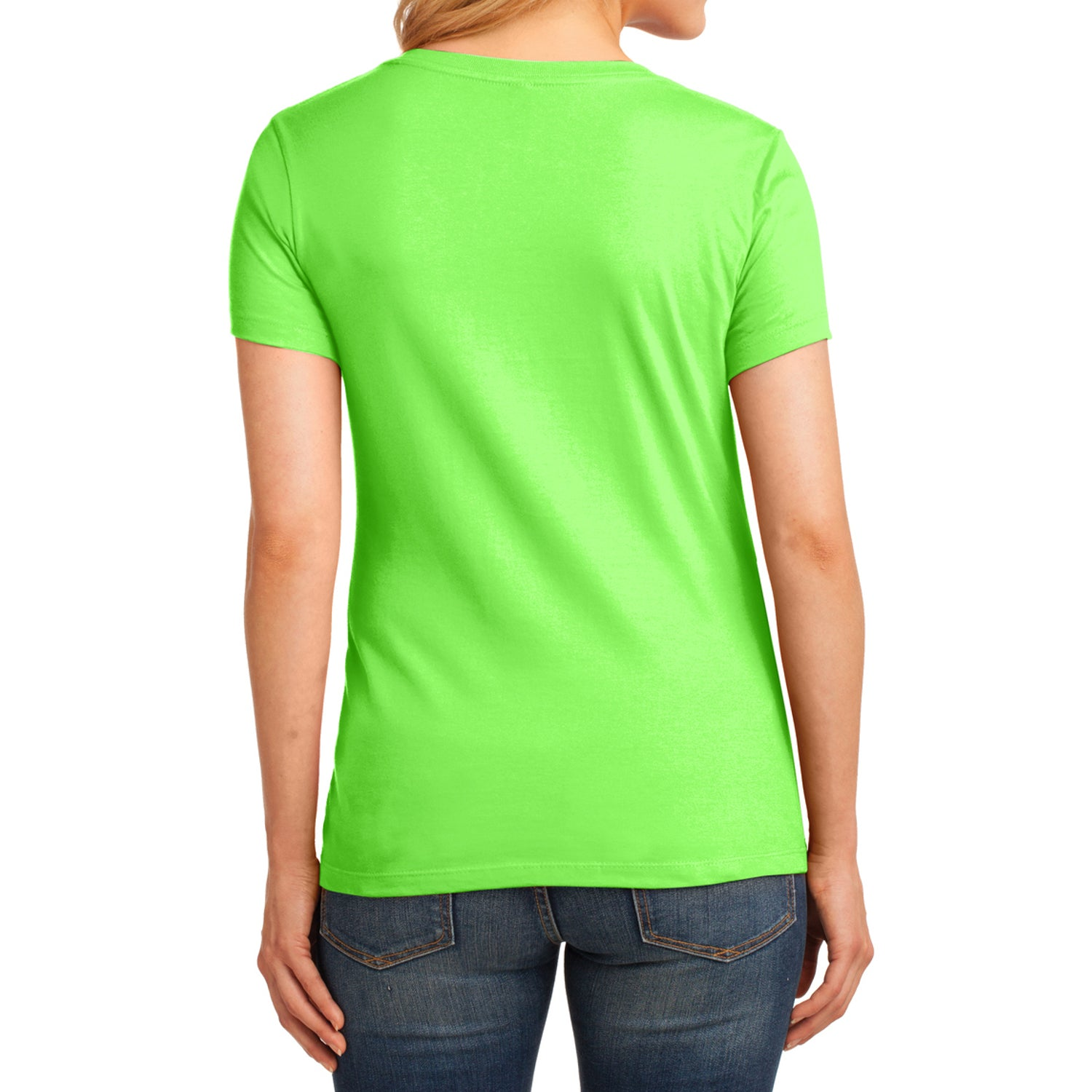 Women's Core Cotton V-Neck Tee - Neon Green - Back
