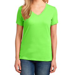 Women's Core Cotton V-Neck Tee - Neon Green - Front