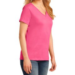 Women's Core Cotton V-Neck Tee - Neon Pink - Side