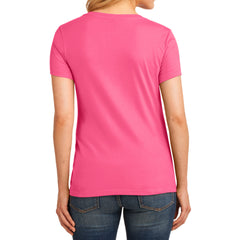 Women's Core Cotton V-Neck Tee - Neon Pink - Back