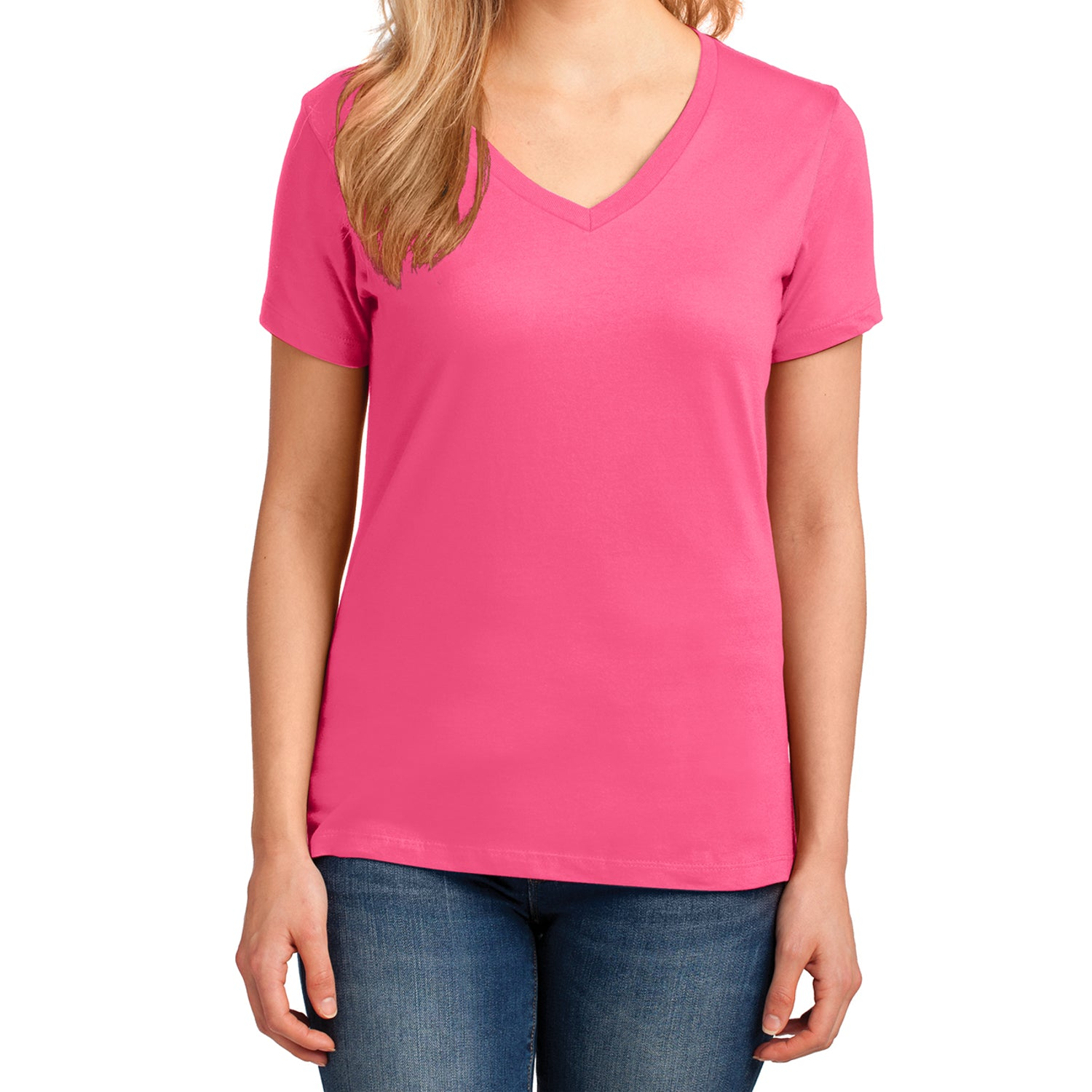 Women's Core Cotton V-Neck Tee - Neon Pink - Front