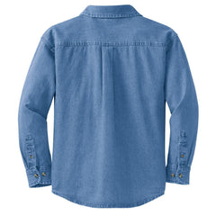 Mafoose Women's Long Sleeve Value Denim Shirt Faded Blue-Back