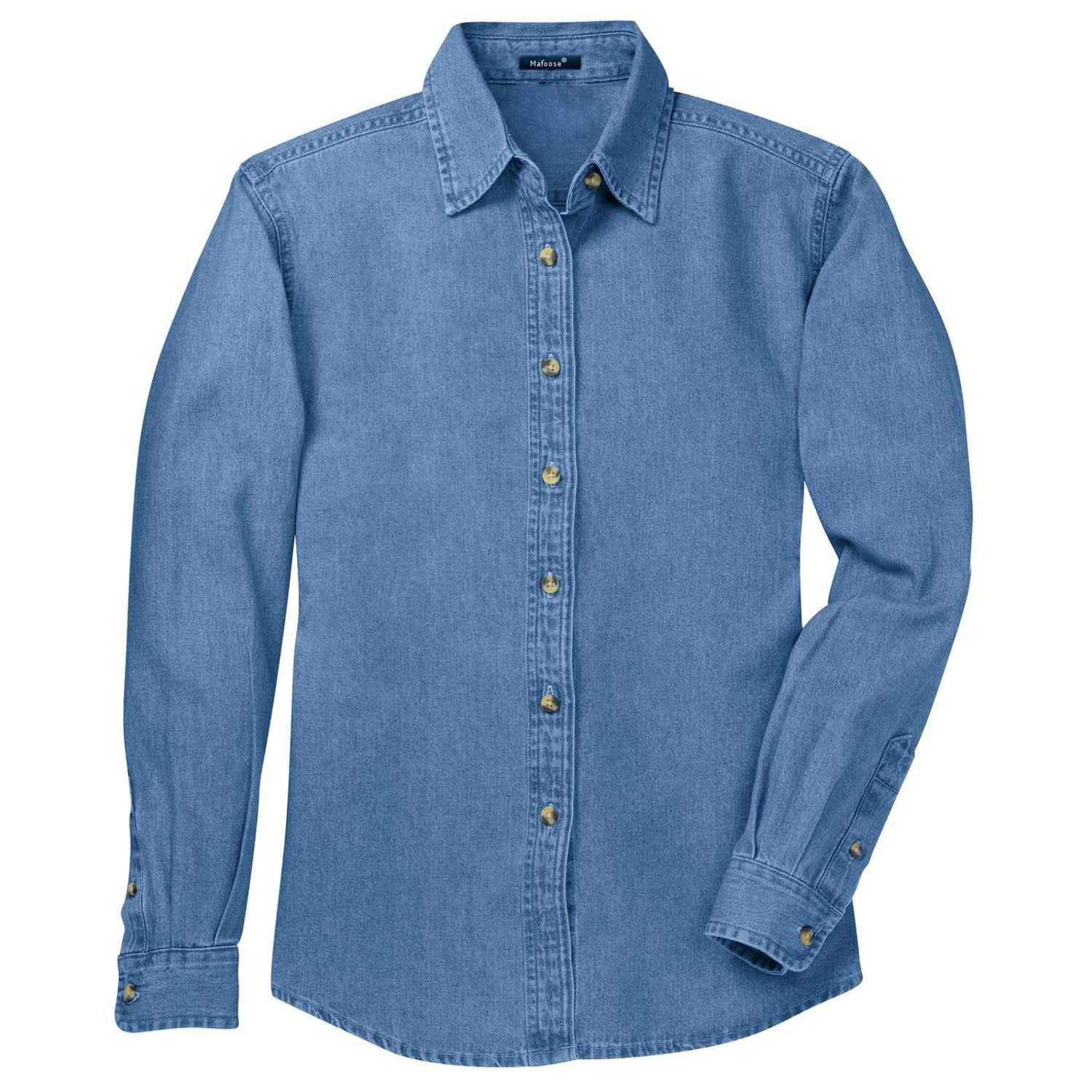 Mafoose Women's Long Sleeve Value Denim Shirt Faded Blue-Front