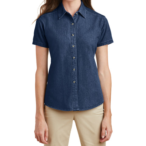 Mafoose Women's Short Sleeve Value Denim Shirt Ink Blue-Front