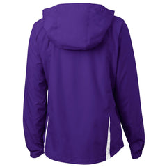Mafoose Women's Colorblock Hooded Raglan Jacket Purple/White-Back