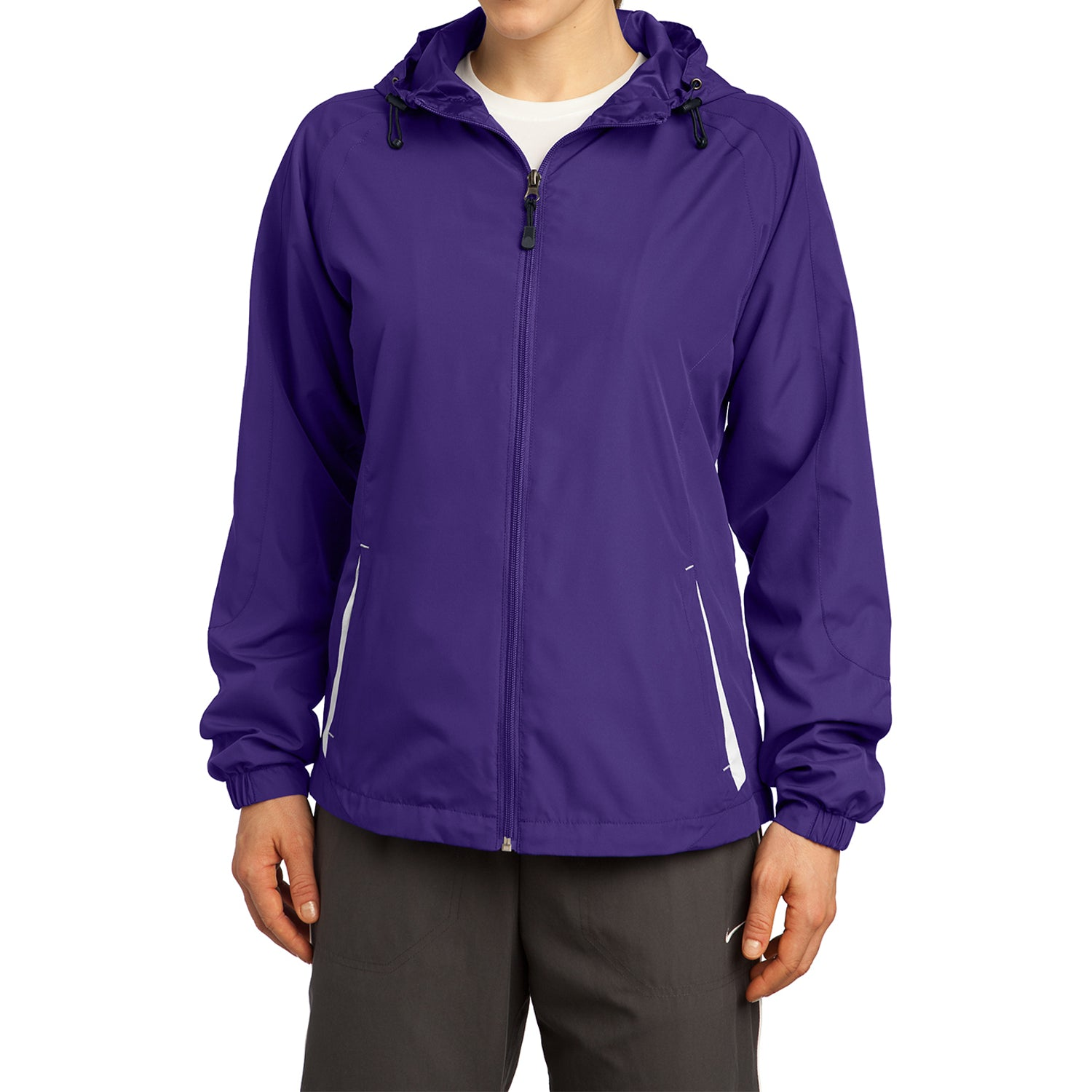 Mafoose Women's Colorblock Hooded Raglan Jacket Purple/White-Front