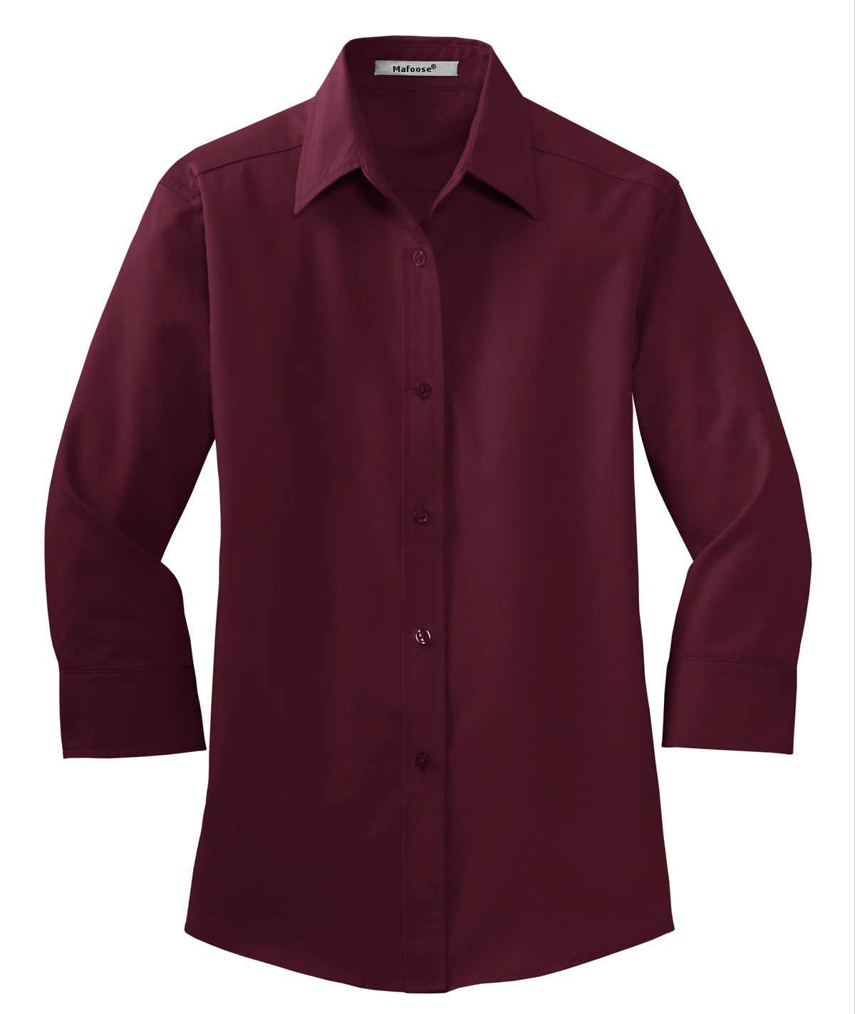 Mafoose Women's 3/4-Sleeve Traditional Easy Care Shirt Burgundy-Front