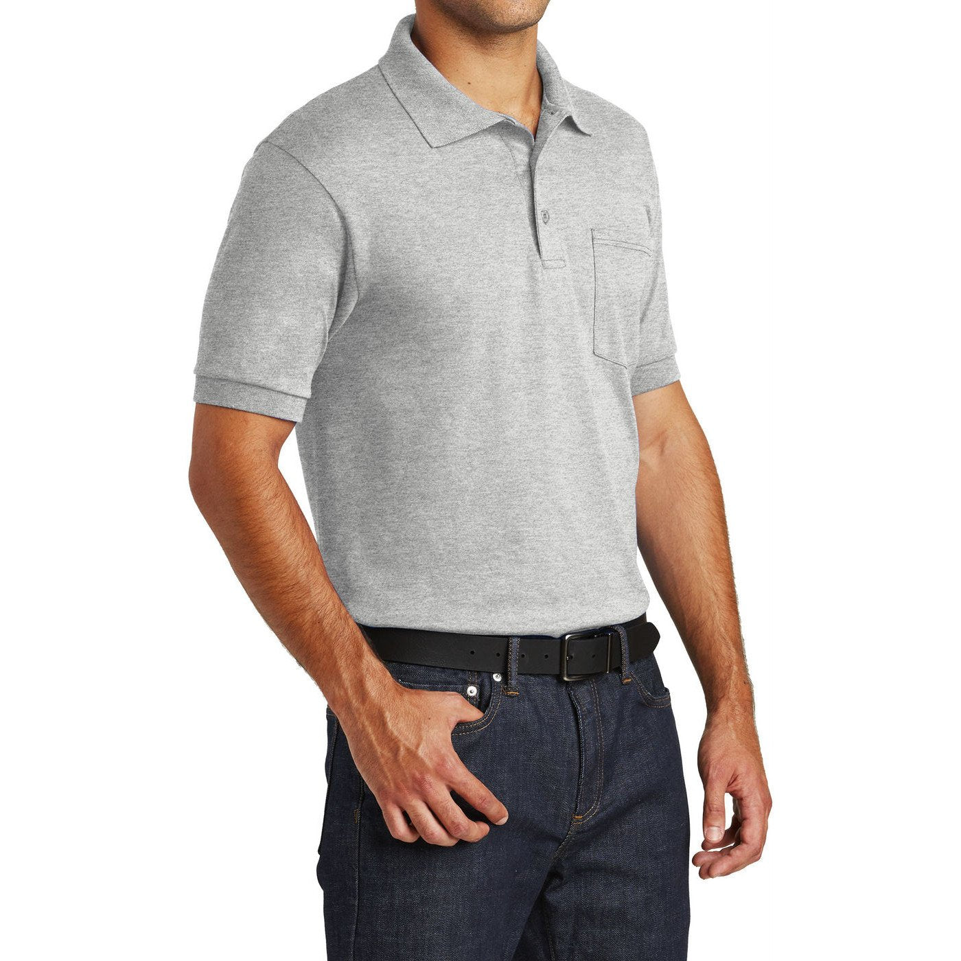 Mafoose Men's Core Blend Jersey Knit Pocket Polo Shirt Ash