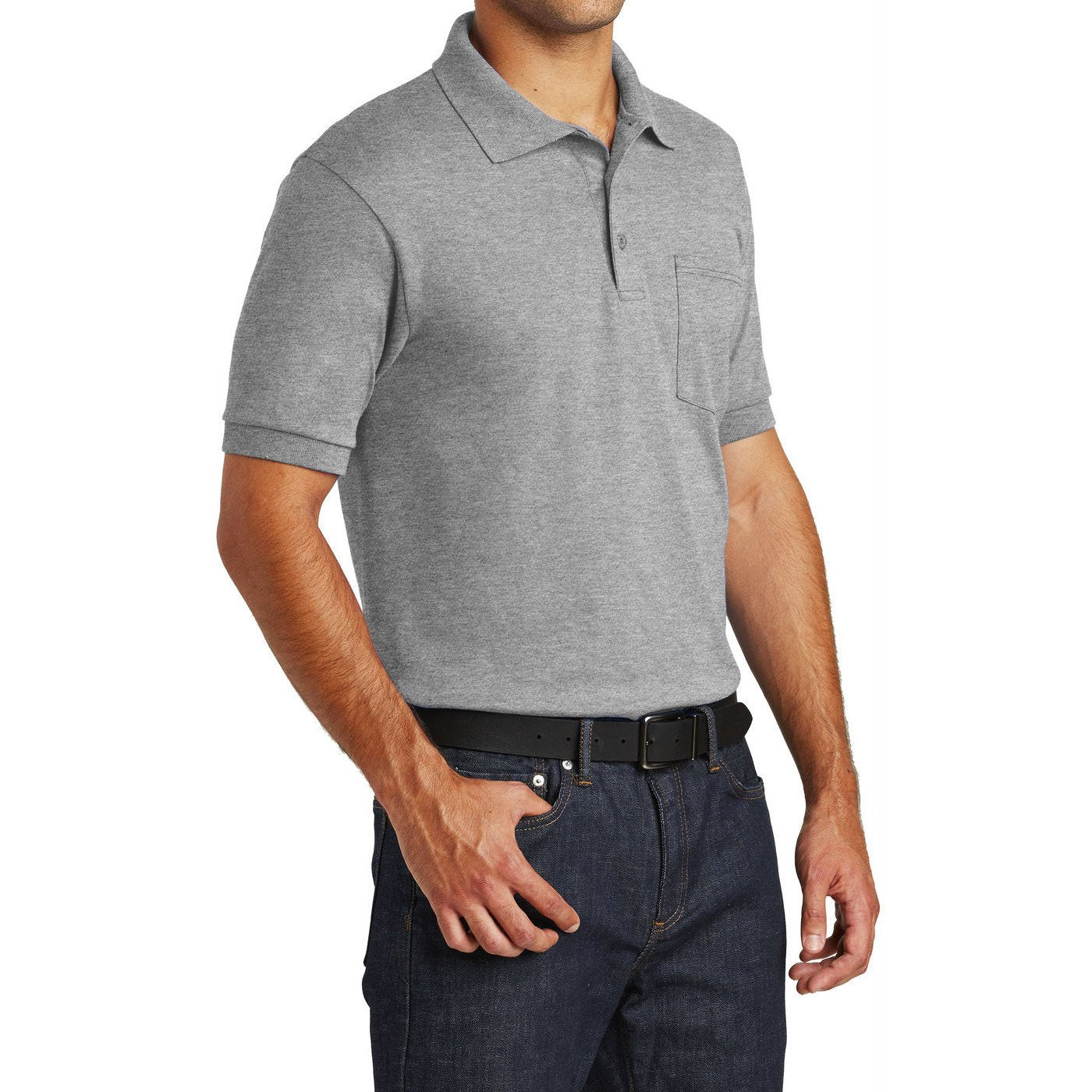 Mafoose Men's Core Blend Jersey Knit Pocket Polo Shirt Athletic Heather