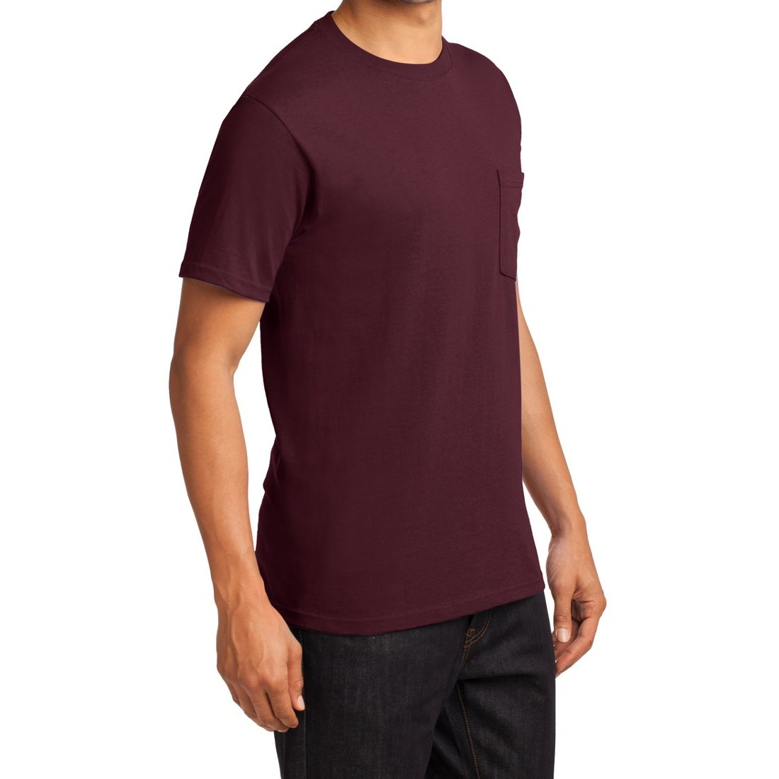 Men's Essential T Shirt with Pocket Athletic Maroon