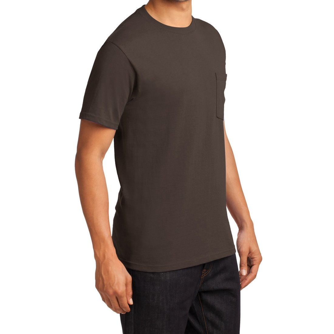 Men's Essential T Shirt with Pocket Brown