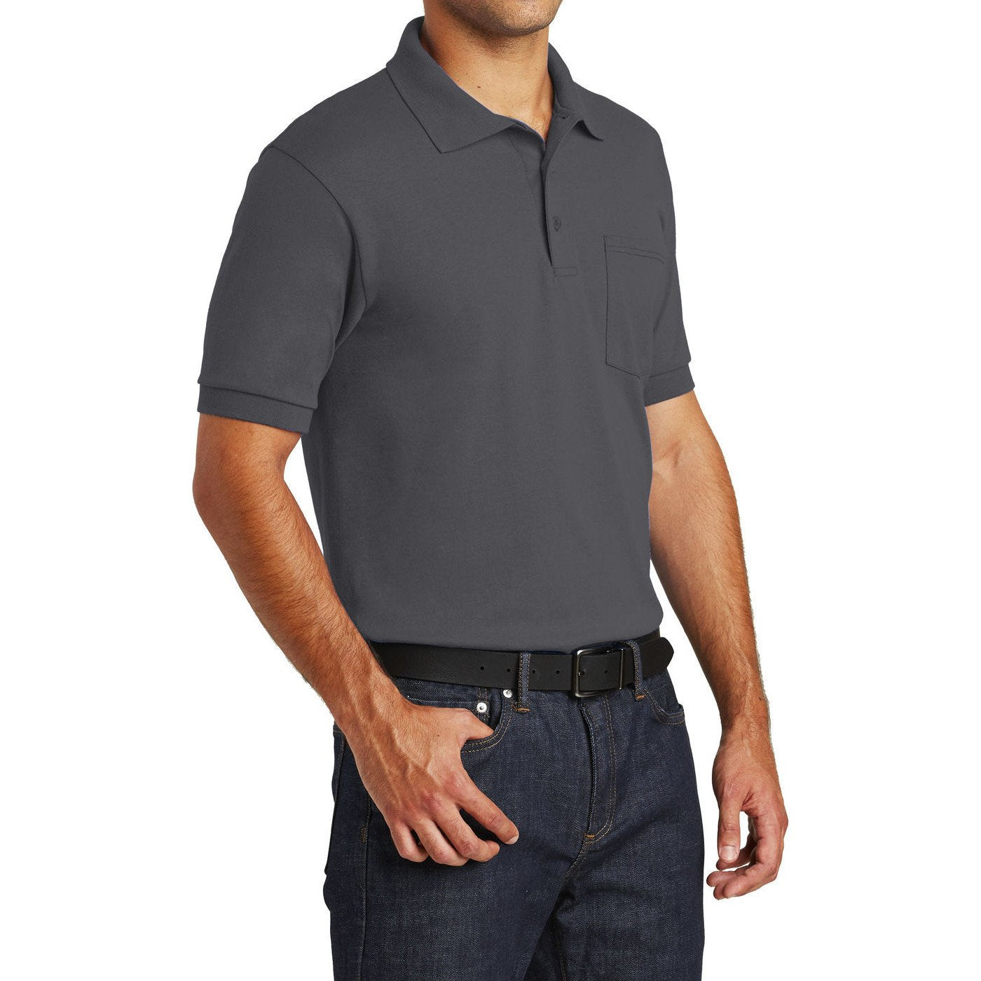Mafoose Men's Core Blend Jersey Knit Pocket Polo Shirt Charcoal