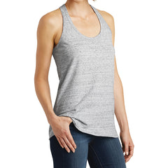 Women's Cosmic Twist Back Tank - White/ Black Cosmic - Side