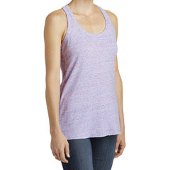 Women's Cosmic Twist Back Tank - White/ Pink Cosmic - Side