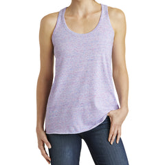 Women's Cosmic Twist Back Tank - White/ Pink Cosmic - Front