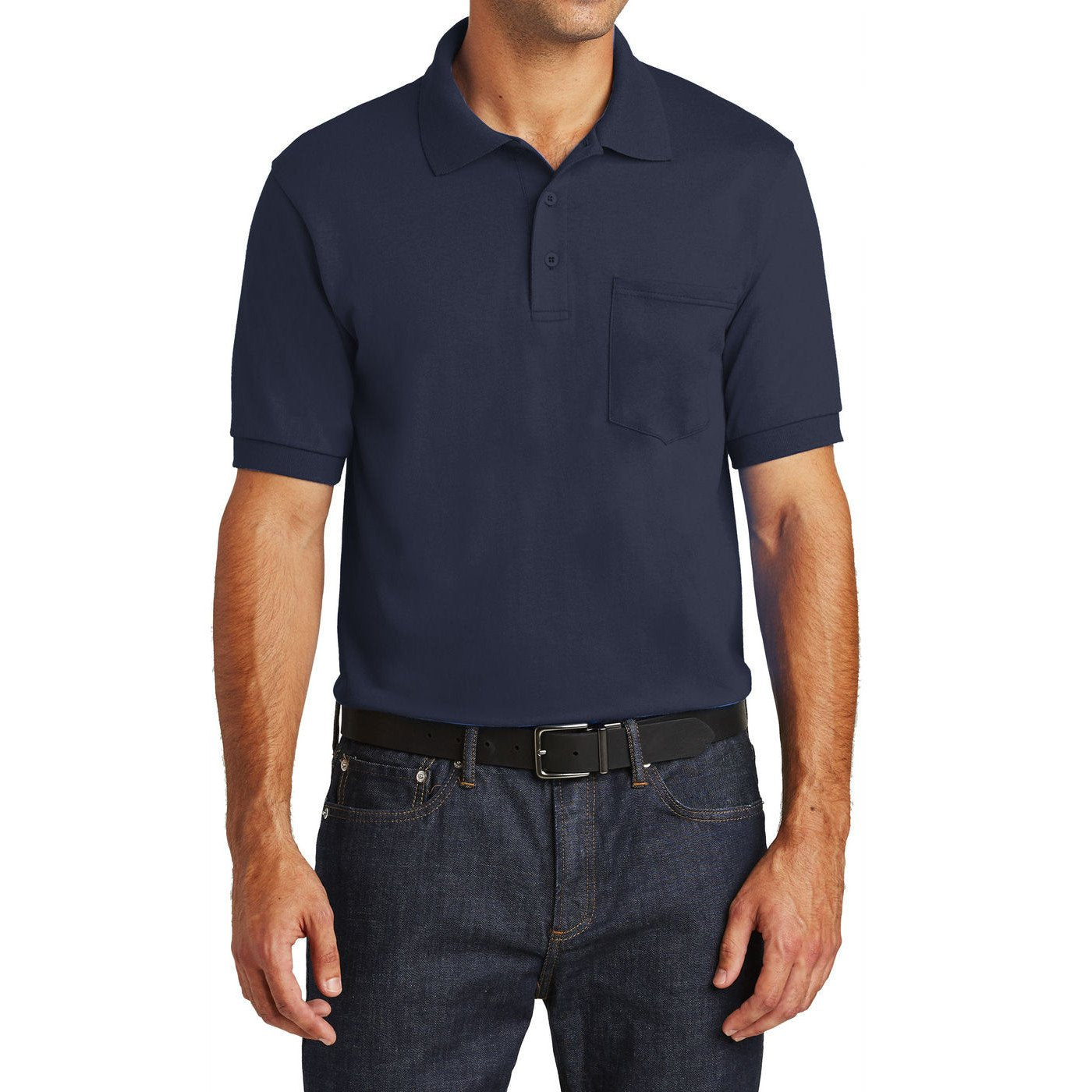 Mafoose Men's Core Blend Jersey Knit Pocket Polo Shirt Deep Navy