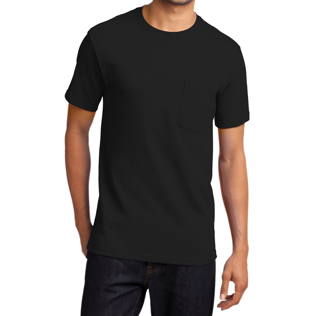 Men's Essential T Shirt with Pocket Jet Black