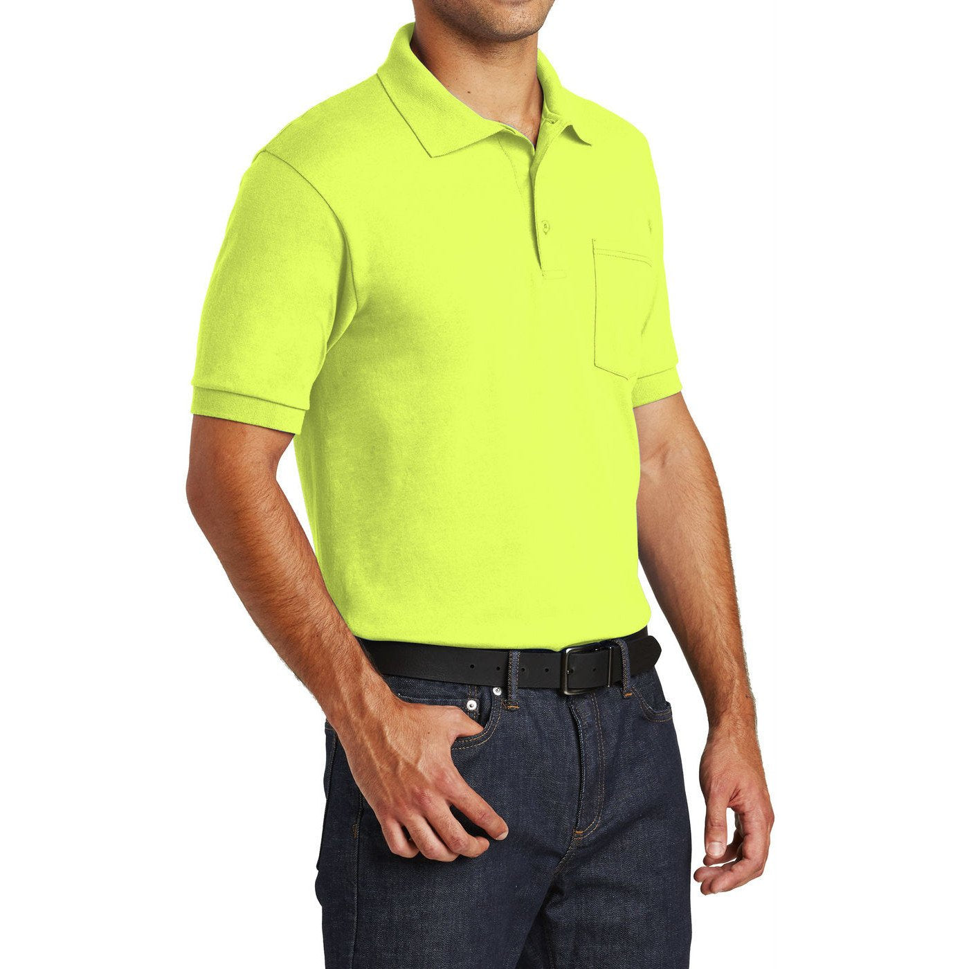 Mafoose Men's Core Blend Jersey Knit Pocket Polo Shirt Safety Green