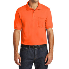 Mafoose Men's Core Blend Jersey Knit Pocket Polo Shirt Safety Orange