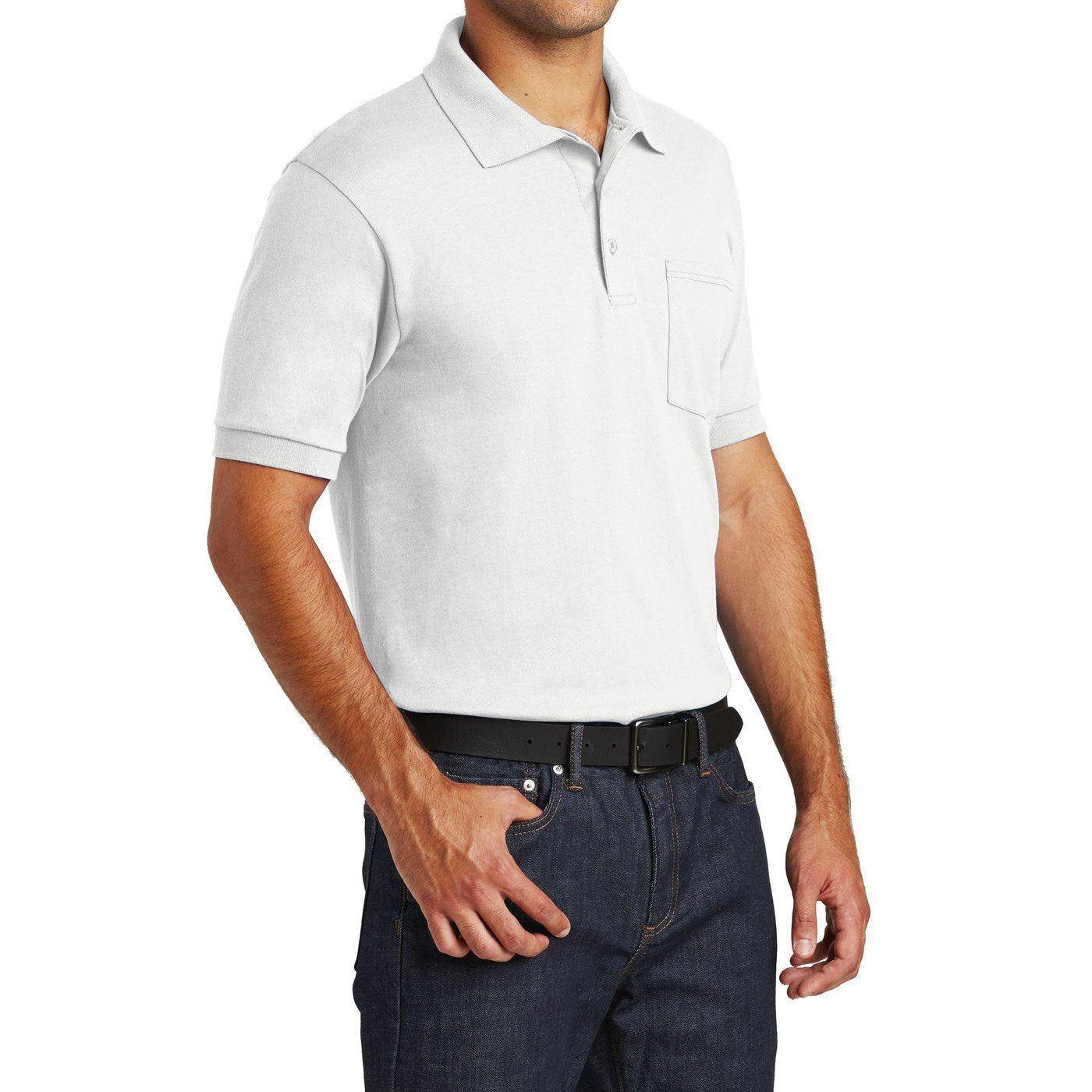 Mafoose Men's Core Blend Jersey Knit Pocket Polo Shirt White