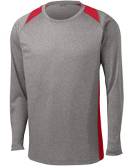 Mafoose Men's Long Sleeve Heather Colorblock Contender Tee Shirt Vintage Heather/ True Red-Front