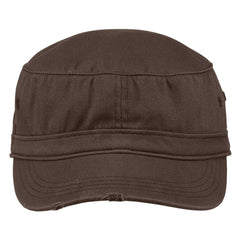 Men's Distressed Military Style Hat Chocolate Brown