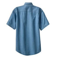 Mafoose Men's Short Sleeve Value Denim Shirt Faded Blue-Back