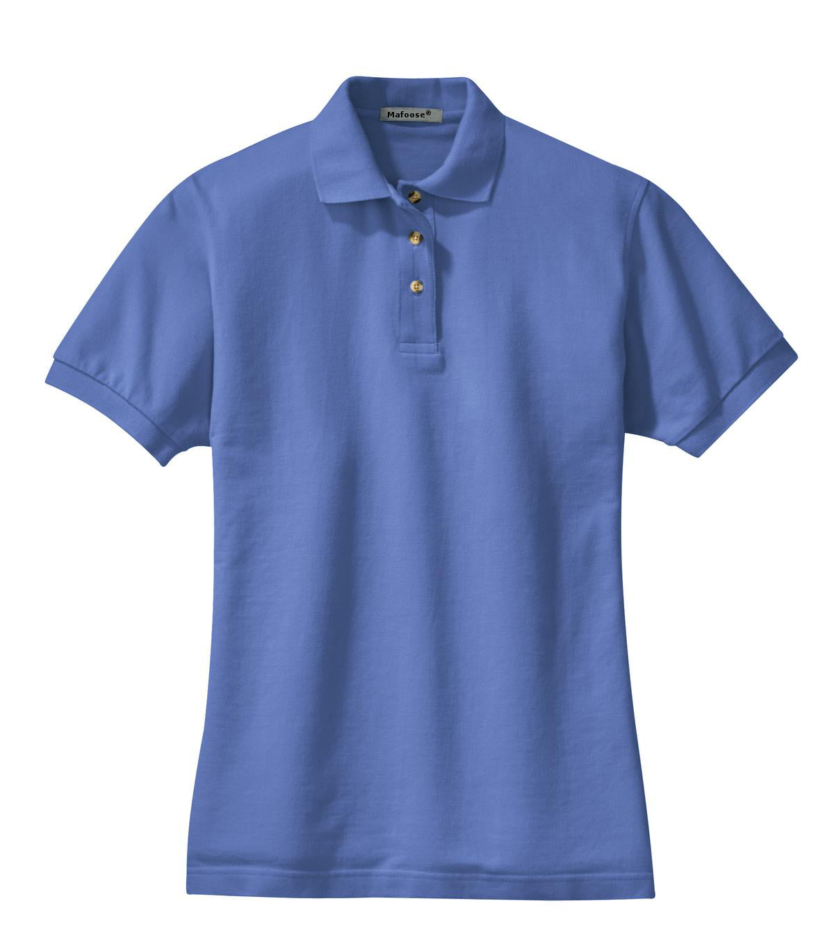 Mafoose Women's Heavyweight Cotton Pique Polo Shirt Faded Blue-Front