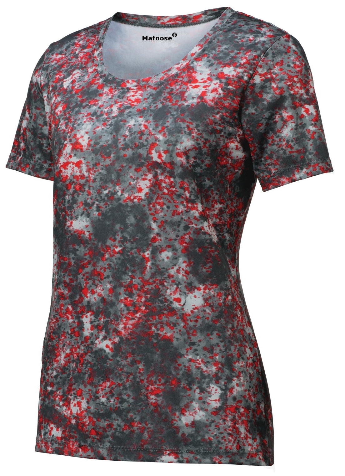 Mafoose Ladies Mineral Freeze Scoop Neck Tee Shirt Deep Red-front