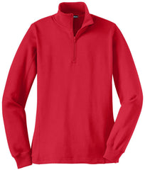 Mafoose Women's 1/4 Zip Sweatshirt True Red-Front